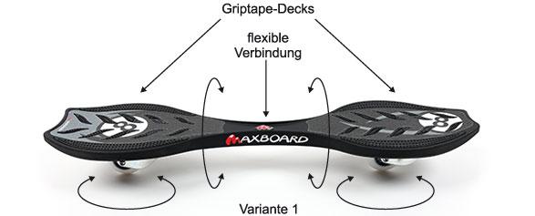 Das Maxboard ist ein Waveboard der neuen Generation. Es kommt völlig ohne Torsionsstange aus und ist damit viel leichter und weniger Defektanfällig. Vom Prinzip her funktioniert das Maxboard wie die alten Waveboards mit Torsionsstange. Durch das flexible und haltbare Material fährt es aber viel leiser und sanfter über den Asphalt. Bei diesem Waveboard gibt es kein Klappern mehr.