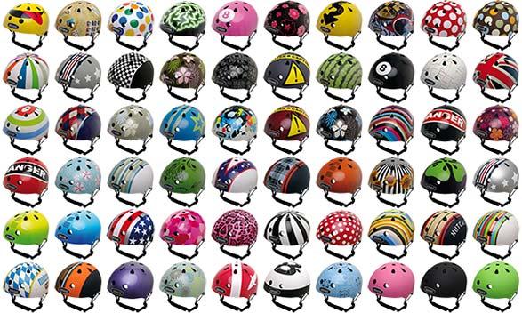 Nutcase Helme gibt es in vielen verschiedenen Designs